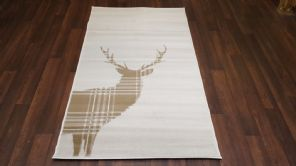 Modern Approx 4x2 60cm x 110cm Novelty range new checked stag /cream/beige rugs